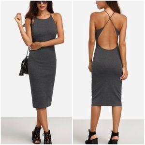 Grey Crisscross Backless Sleeveless Sheath Dress.
